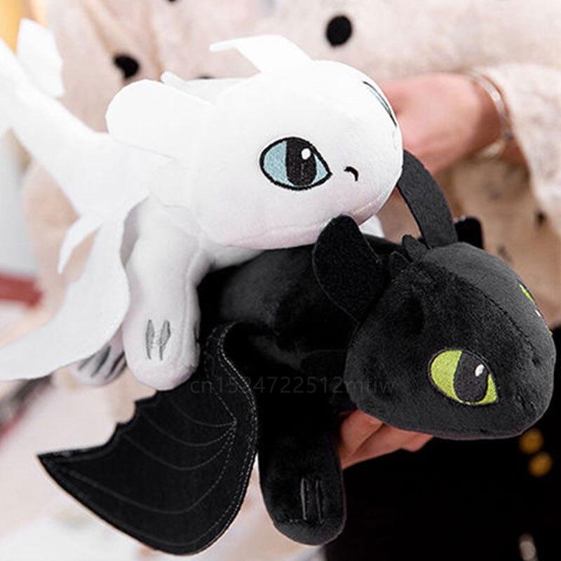 35cm desdentado luz fúria como treinar seu dragão 3 brinquedos anime figura noite fúria dragão boneca de pelúcia brinquedos para crianças