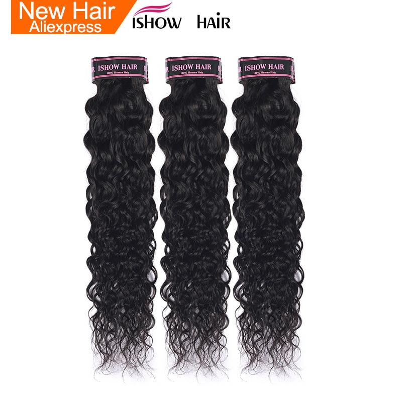 Ishow Water Wave Human Hair Bundles Brazilian Hair Weave Bundles Can Buy 3 Or 4 Bundles Hair Extensions 1pc Non Remy Hair