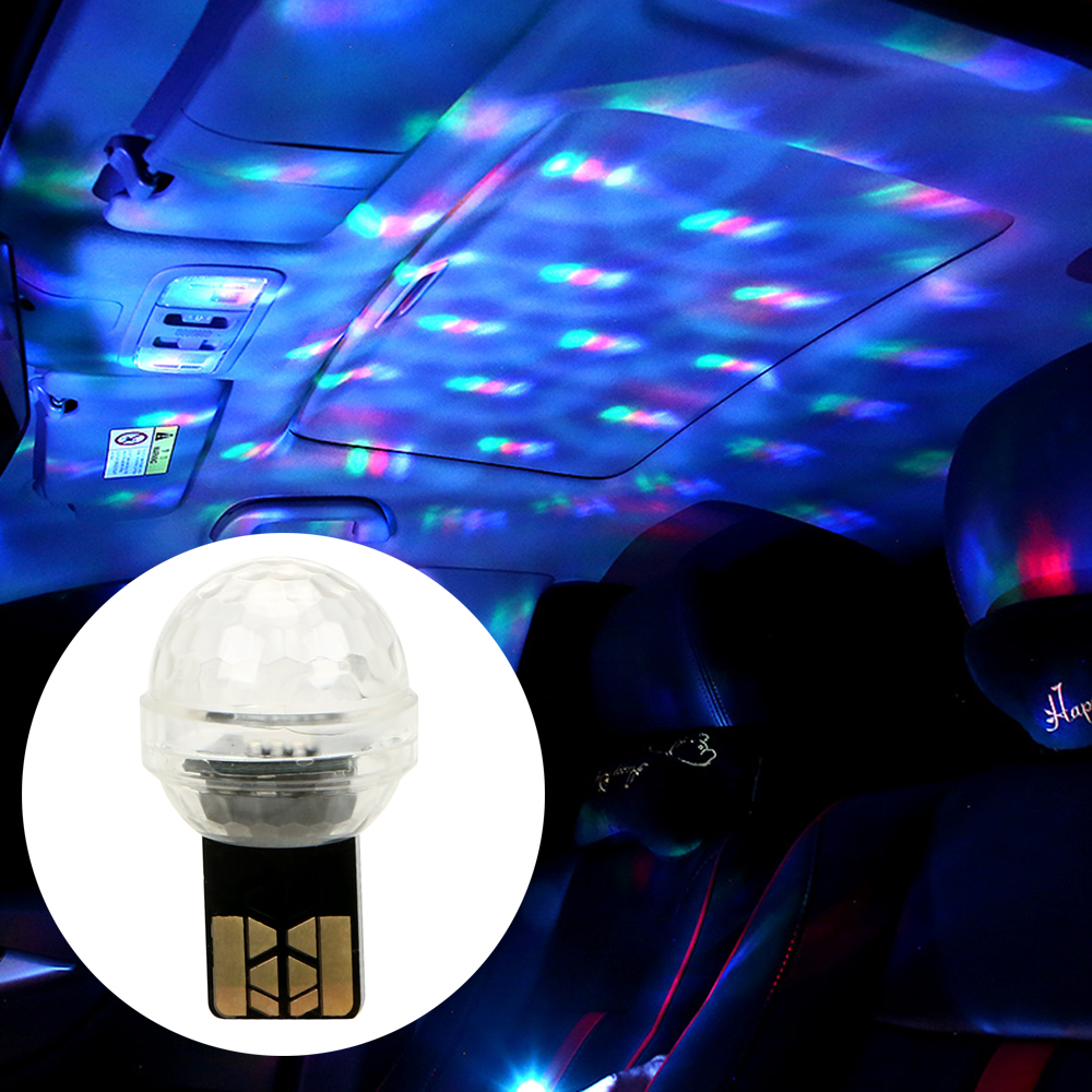 FORAUTO Car USB Decorative Light Ambient Lamp Mini Colorful Music Sound Lamp Atmosphere Light DJ RGB Magic Stage Car-styling