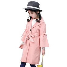 Childrens Clothing Girls Trench Coat 2019 Spring Autumn New Leisure Letter Hooded Windbreaker Jackets