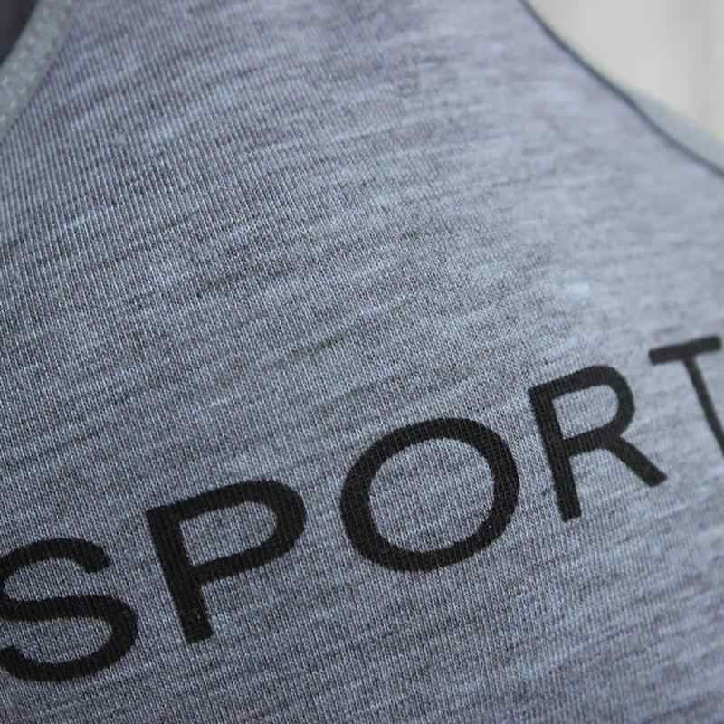 Baru Olahraga Dipotong Top Bra Push Up Menjalankan Yoga Bra Katun Huruf Olahraga Atasan untuk Wanita Pakaian Gym Solid Kebugaran bra Olahraga