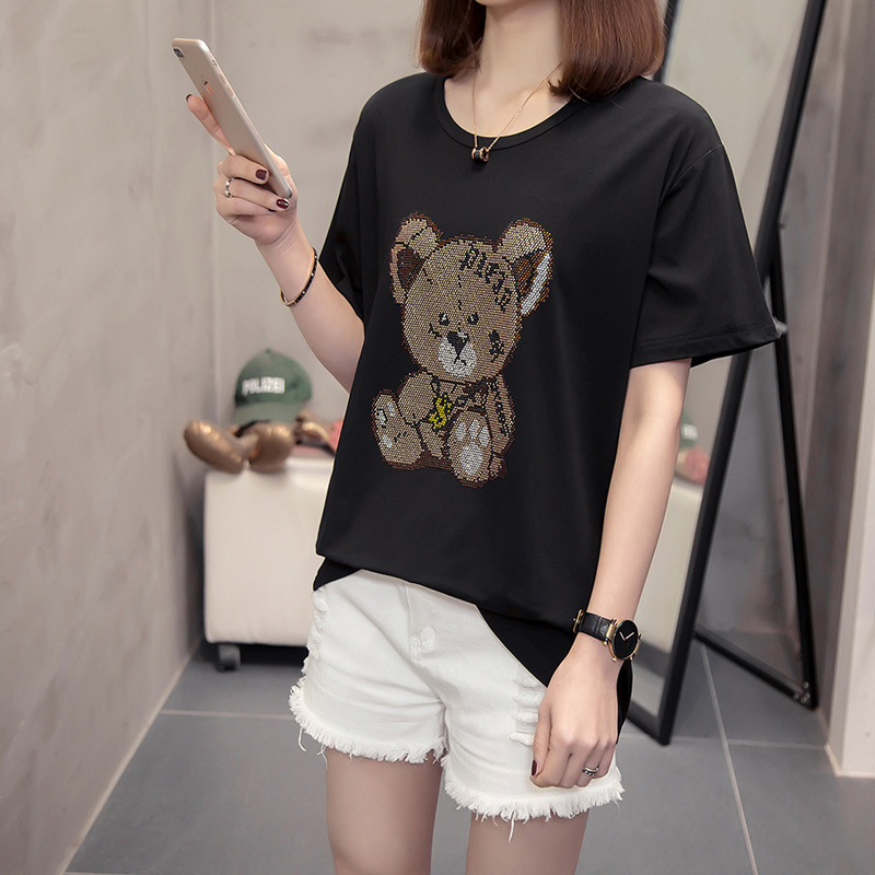 Plus Size Women's Black T-shirt 2020 New Bear Pattern Decoration Diamonds Top Female Fashion Summer Short Sleeve Round Neck Tees