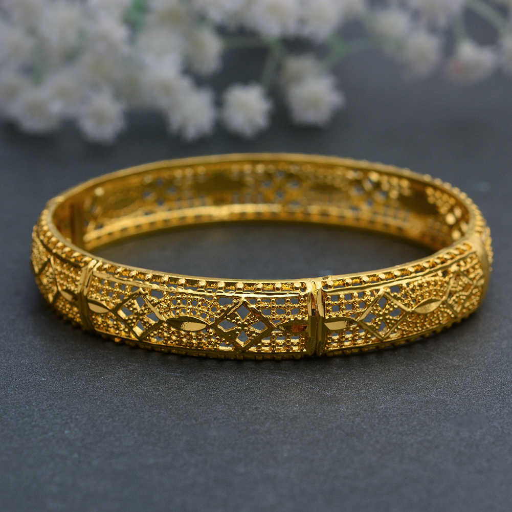 WANDO 1 Pieces/Lot Gold Color Dubai Bangles for Women Ethiopian Bracelets Middle East Wedding Jewelry African Gifts