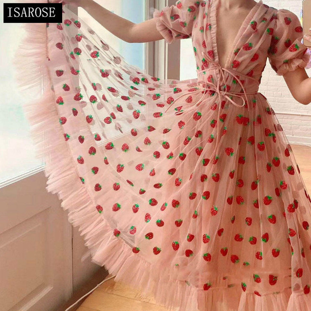 Stock 2021 Strawberry Dress Women Fashion Deep V Pleated Puff Sleeve Sweet Voile Mesh Sequins Embroidery French Party Dresses 1