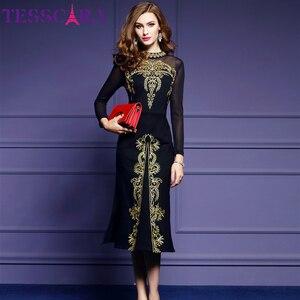 Image 2 - Женское осеннее роскошное платье TESSCARA с вышивкой, женское элегантное черное ретро платье, женское дизайнерское Сетчатое платье высокого качества