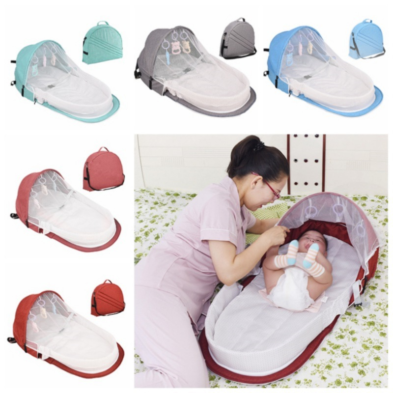 Portable Bassinet For Baby Foldable Baby Bed Travel  Sun Protection Mosquito Net Breathable Infant Sleeping Basket With Toys