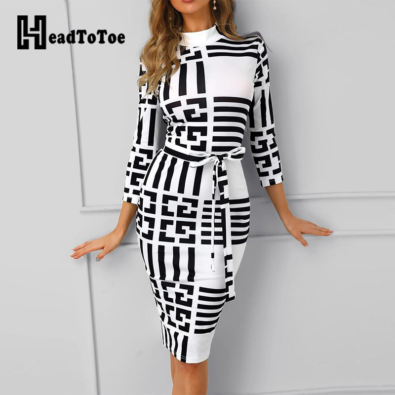 Striped Colorblock Insert Women Bodycon Dress Three Quarters Sleeve Mock Neck Office Ladies Casual Midi Dress