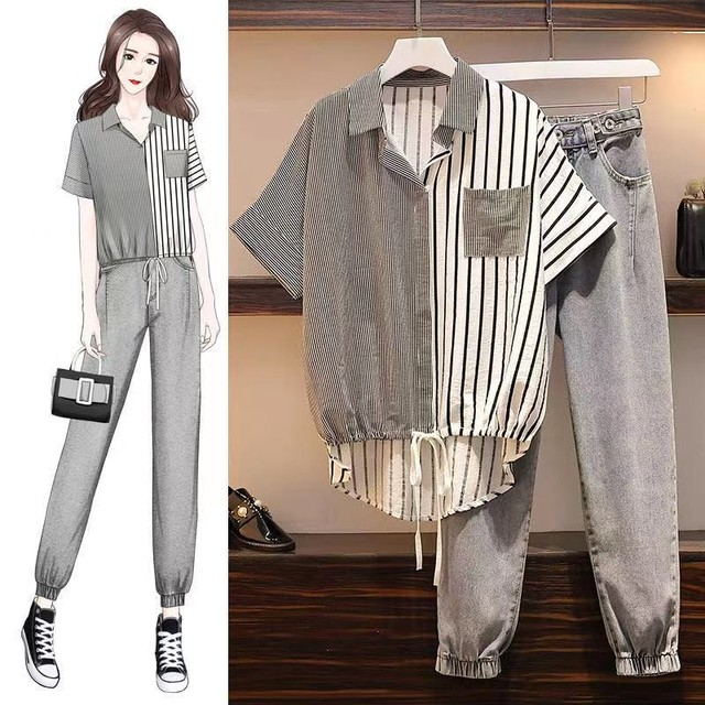 Fashion Autumn Set Women Striped Patchwork Drawstring Single Breasted Shirts Office Ladies Casual  Loose Chic Korean Simple 5