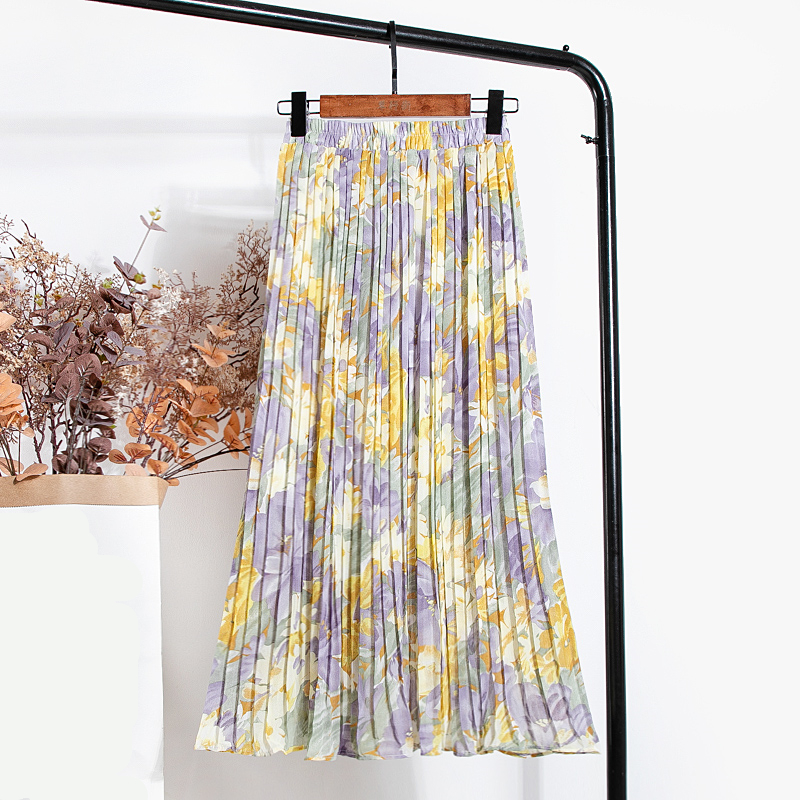 REALEFT New 2021 Vintage Floral Printed Tulle Pleated Mi-long Women Skirts High Waist Loose Female Umbrella Skirts Spring Summer 2