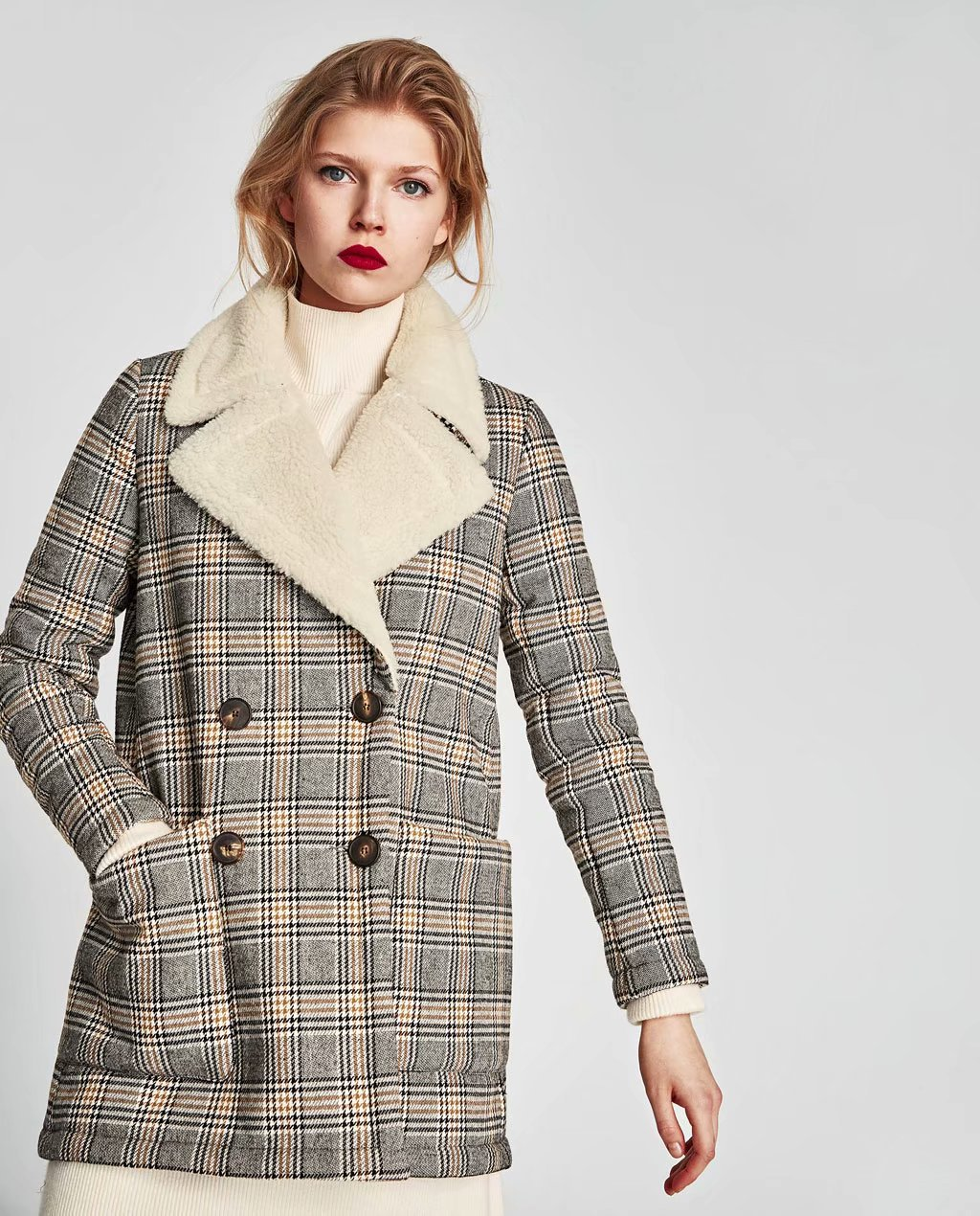 2018 Autumn And Winter New Style Europe And America Fashion Trend Of The Wind Joint Plaid Lambs Wool Overcoat