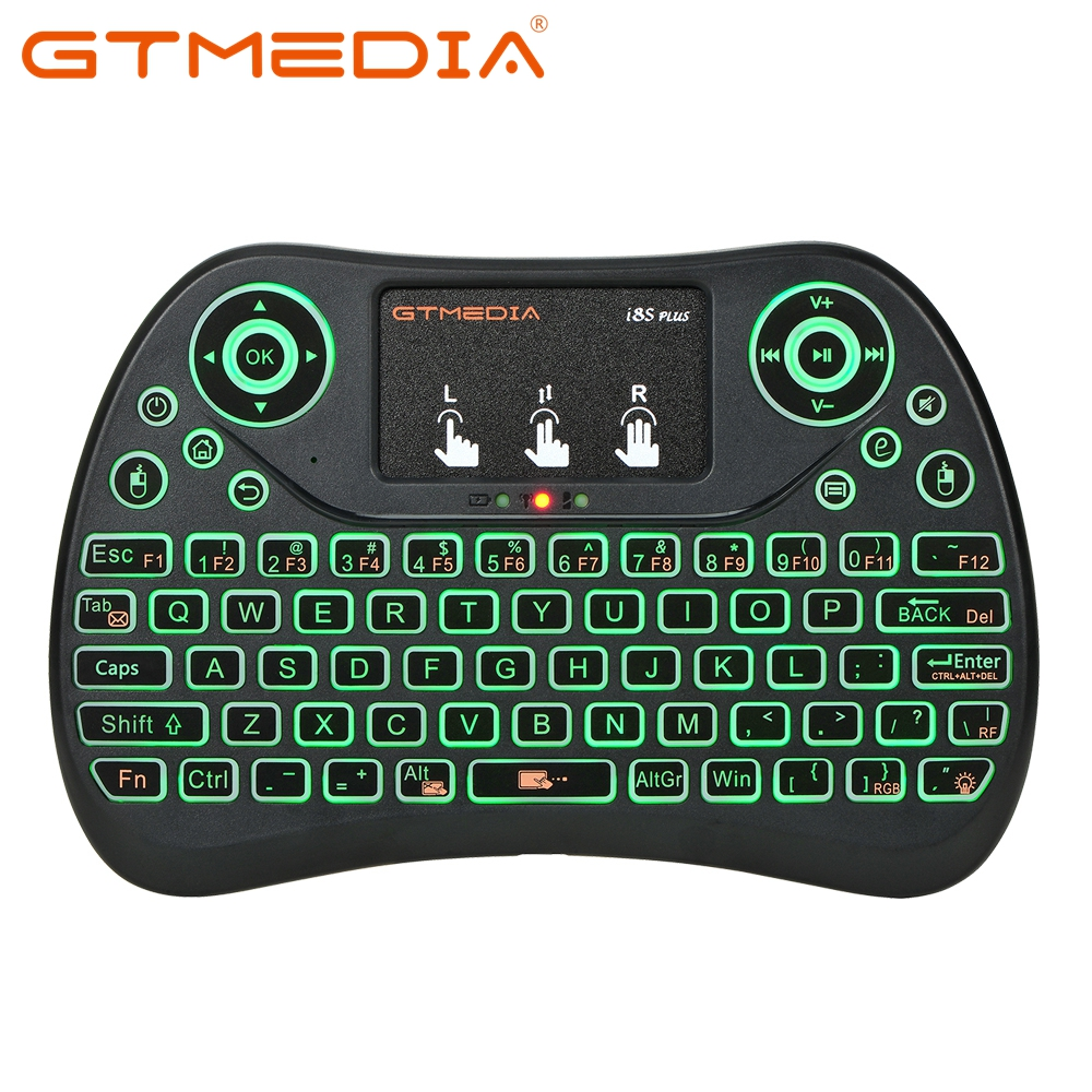 GTMEDIA <font><b>i8S</b></font> PLUS Backlit 2.4G <font><b>Wireless</b></font> <font><b>Keyboard</b></font> Air Mouse Spanish Russian English Touchpad Handheld for Android TV BOX H96 Max image