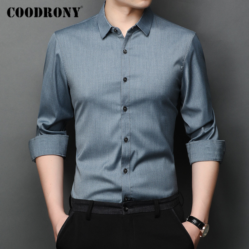 COODRONY Brand Spring Autumn Fashion Mens Shirts Long Sleeve Shirt Men Clothes Pure Color Business Casual Camisa Masculina C6008