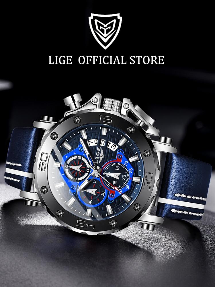 LIGE Mens Watches Military Big Dial Sport Waterproof Luxury Relogio Masculino Top-Brand
