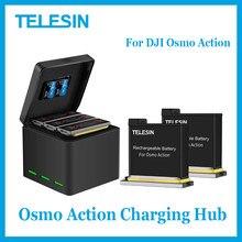 Telesin osmo ação hub de carregamento com osmo ação bateria para dji osmo ação acessórios 1300 mah bateria original em estoque
