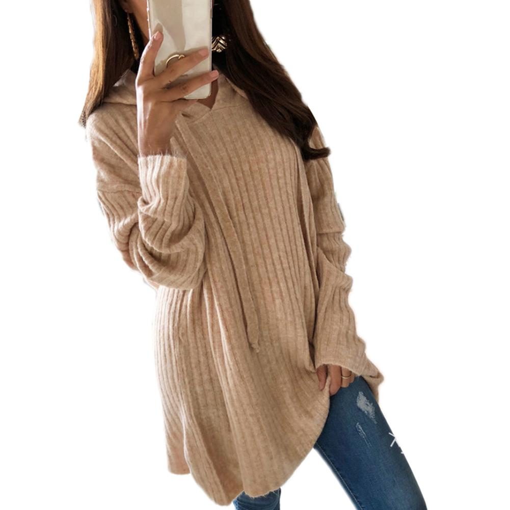Hooded Shawl Fringe Plus Size Women Casual Solid Color Sweater Loose Hooded Pullover Tunic Top
