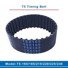 T5 Timing Belt Model T5-165/185/215/220/225/240 Rubber Belt Teeth Pitch 5mm Transmission Belt Width 10/15/20/25/30/35/40/45/50mm