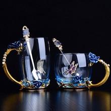 Красная синяя Роза, эмаль, Хрустальная чайная чашка, кофейная кружка, Бабочка, роза, окрашенные цветы, чашки для воды, прозрачное стекло с ложкой, набор, идеальный подарок