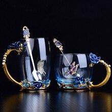 Taza de té de cristal esmaltada en rosa y azul roja taza de café, tazas de agua de flores pintadas en Mariposa o rosa, Juego de vasos transparentes con cuchara, regalo perfecto