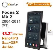 "Auto rotatable 1920*1080 13.3 ""ownice android 10.0 multimídia de carro para ford focus 2 mk 2 2004   2011 carro auto rádio áudio vídeo"
