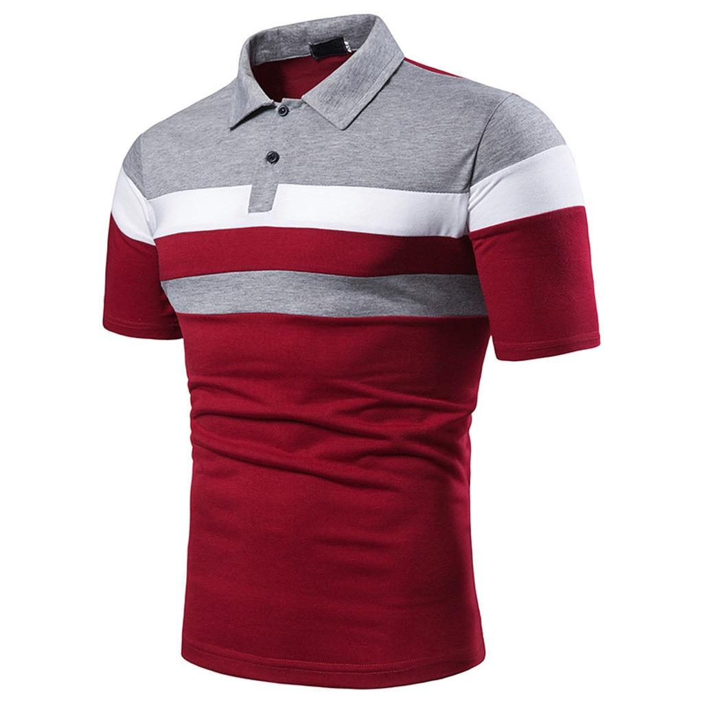 Мужская рубашка-поло, мужская рубашка-поло с коротким рукавом, рубашка-поло с тремя полосками на груди, удобная Пляжная мужская рубашка-поло...