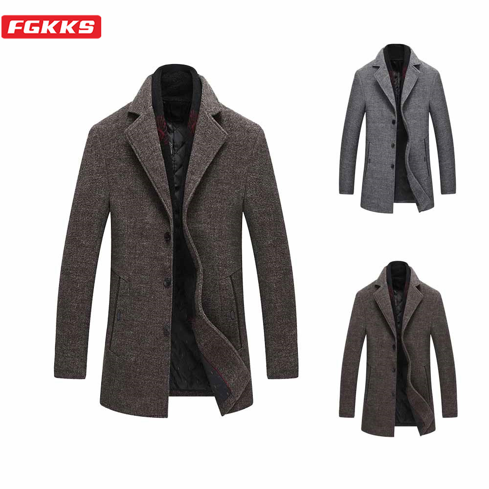 FGKKS Winter Men Wool Blend Coats Fashion Brand Men's With Scarf Lapel Casual Woolen Coat Warm Thick Wool Overcoat Male