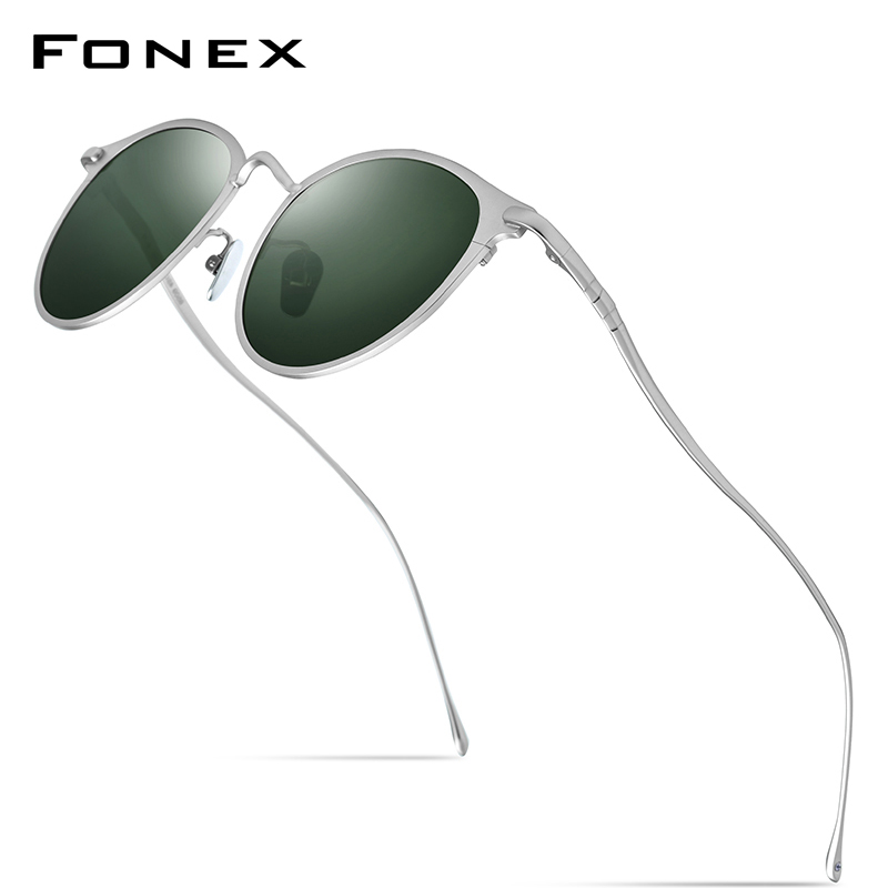 FONEX Pure Titanium Sunglasses Men Vintage Small Round Polarized Sun Glasses For Women 2019 New Retro Mirrored UV400 Shades 8509