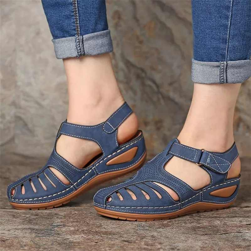 Women's Sandals Summer Ladies Girls Leather Vintage Sandals Buckle Casual Sewing Women Shoes Solid Female Ladies Platform Shoes