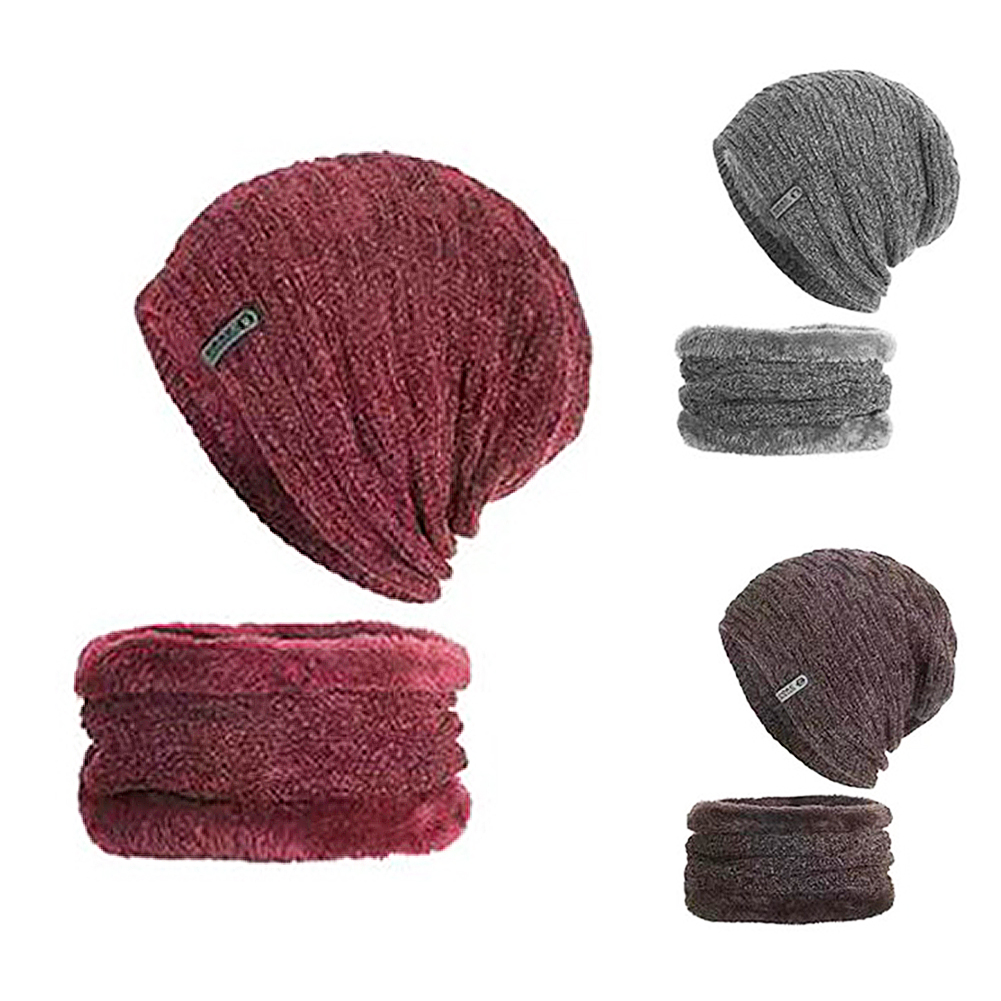 Winter Men Knitted Beanie Hat With Neck Scarf Thick Woolen Hat Autumn Winter Knit Hat Set For Women Men Skullies Bonnet 30E