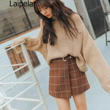 2020 Women'S Ulzzang Autumn And Winter Harajuku Thickened Woolen Plaid Retro Skirt Female Cute Japanese Kawaii Skirts For Women(China)