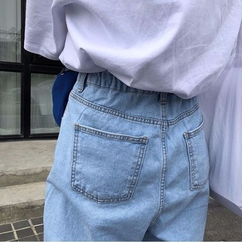 Jeans Women Solid Vintage High Waist Wide Leg Denim Trousers Simple Students All-match Loose Fashion Harajuku Womens Chic Casual 8