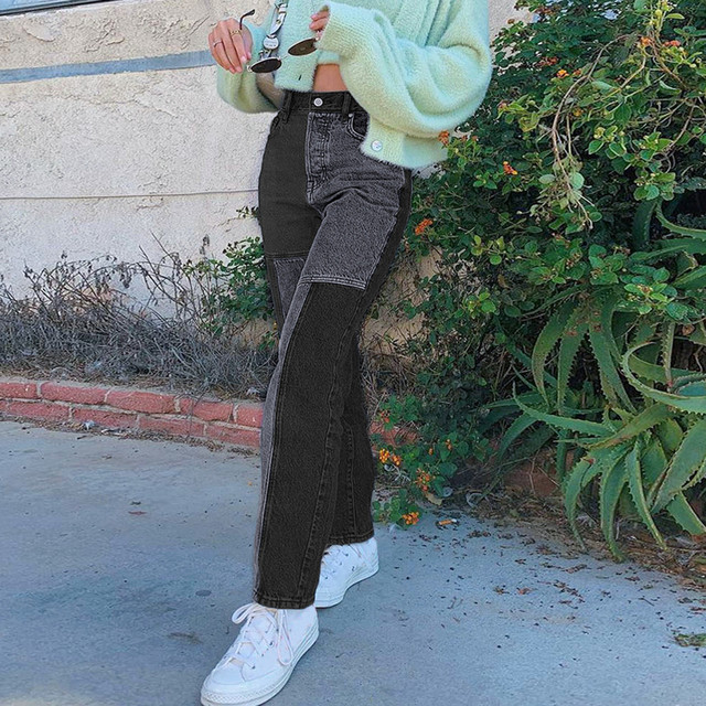 Women's 2021 New Street Fashion And High Street Gray Black Jointed High-Waisted Slimming Straight-leg Jeans Loose Long Trousers 2