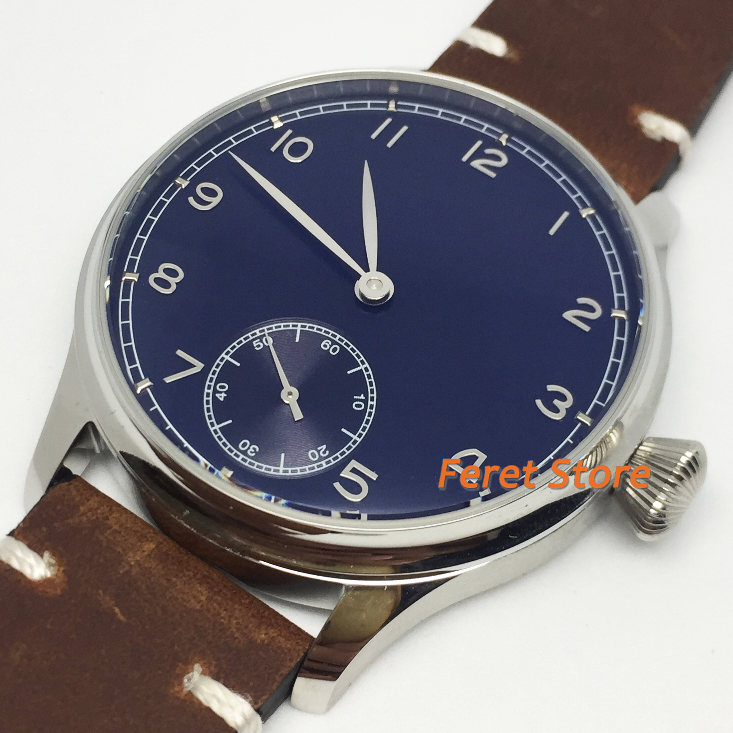 Corgeut 2020 New 44mm Top Mens watches Silver Polished Stainless Case SterileBlue dial Hand Winding 6498 Male Wristwatch Gift
