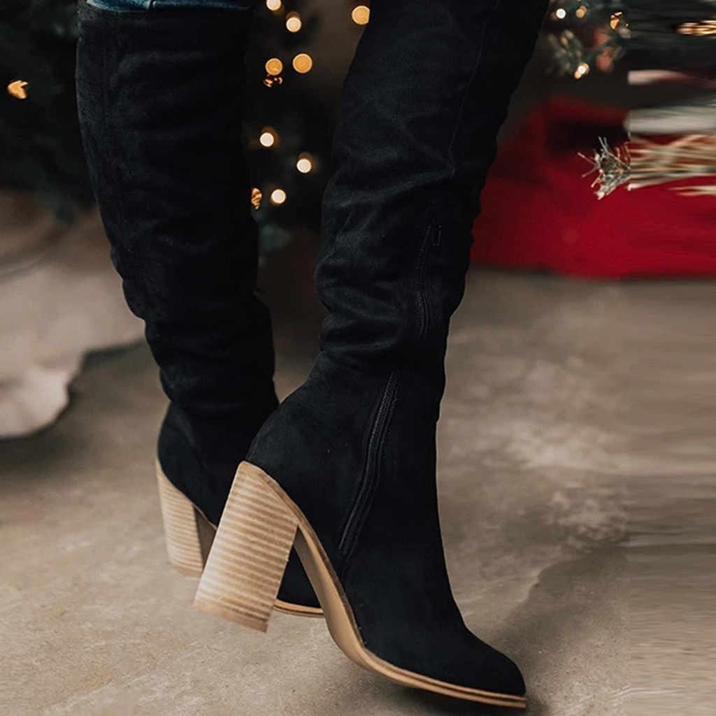 ผู้หญิงโรมยาวบู๊ทซิปขนาดใหญ่ Chunky รองเท้าส้นสูงเข่า-รองเท้าบูทสูงรองเท้าผู้หญิงสีน้ำตาลอุ่น BOOTS