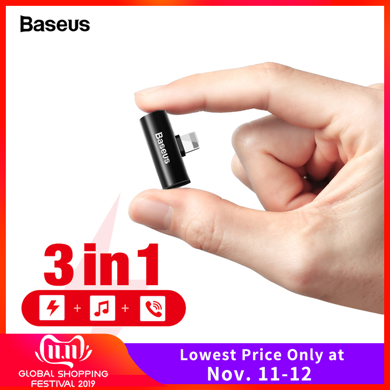 Baseus Aux Adapter For IPhone 11 Pro Max Xs Max Xr X 8 7 Earphone Headphone Connector OTG Cable For Lightning Splitter Converter