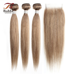 Bobbi Collection 2/3 Bundles with Lace Closure Color 8 Ash Blonde Indian Straight Hair Weave Bundles Non-Remy Human Hair