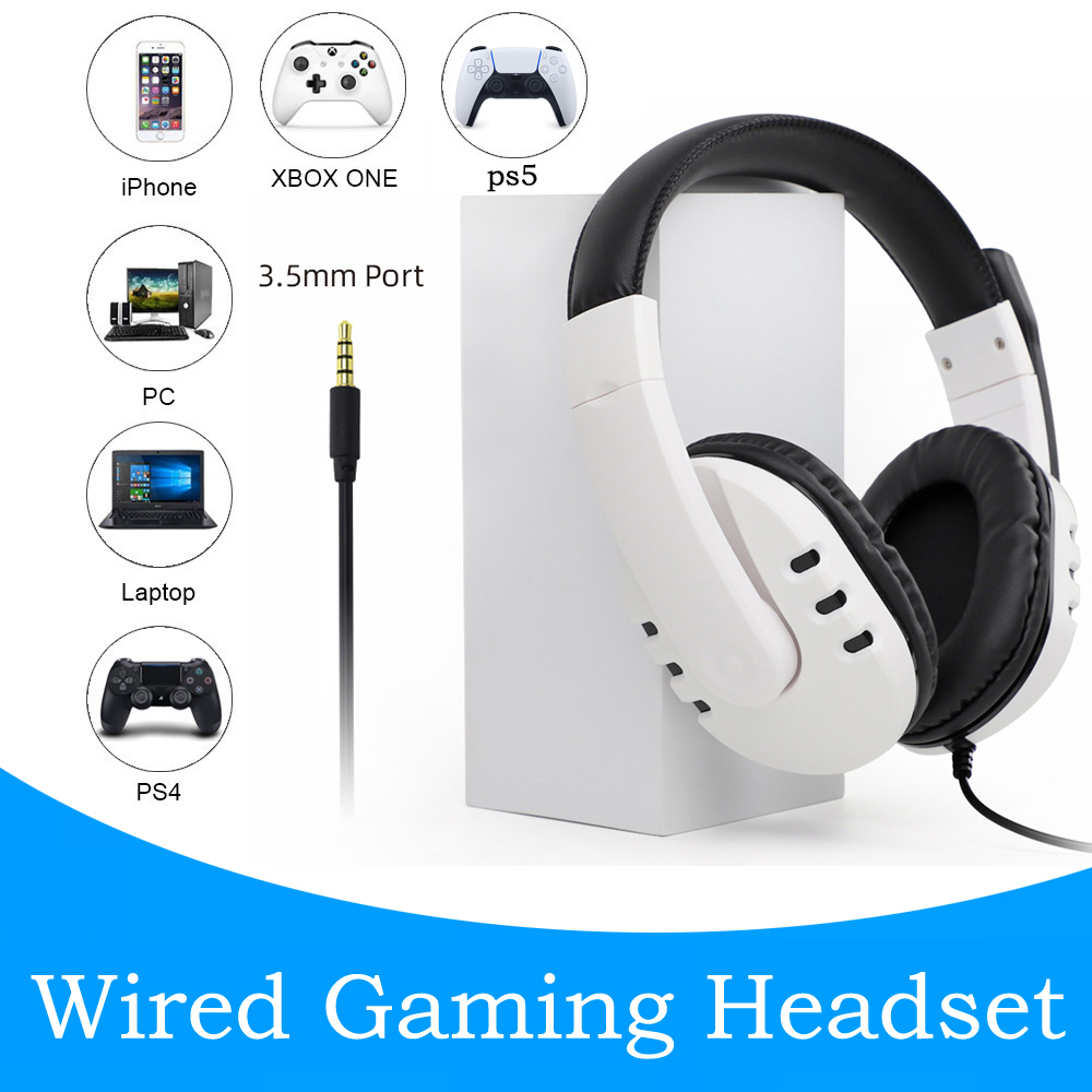 PS5 Проводная игровая гарнитура 3,5 мм, Накладные наушники, белый Воздухопроницаемый объемный звук для Playstation 5 PS4 Xbox Nintendo Switch PC