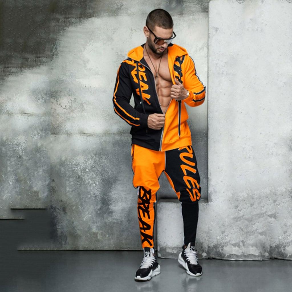 'Men's Tracksuit Hooded Monogram Color Personalized Hip Hop Zipper Cardigan Ropa Para Hombre Casual