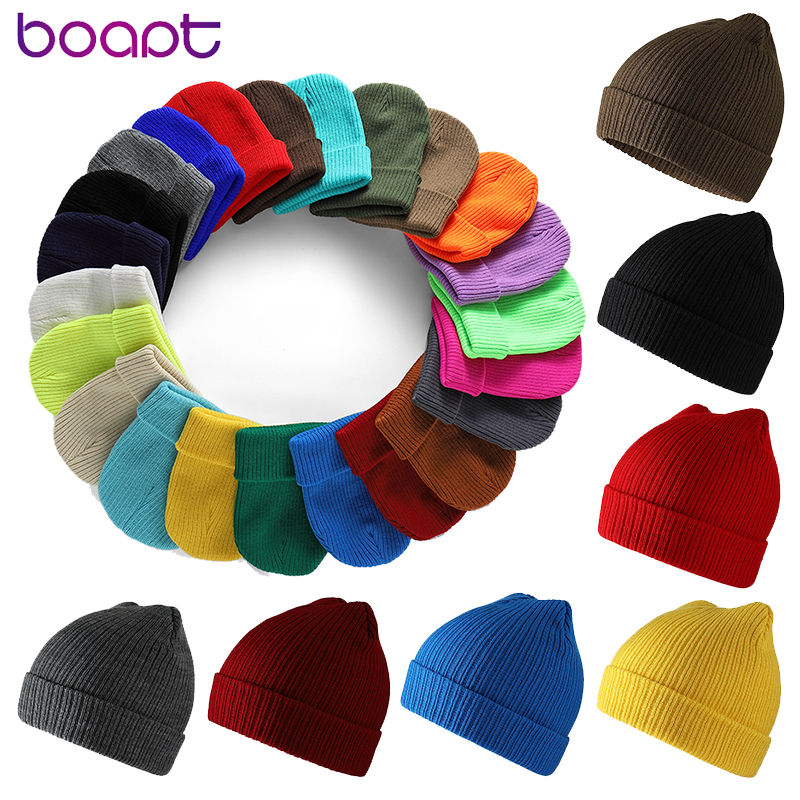 Winter Hats Bonnet Beanies-Caps Skullies Acrylic Unisex Solid-Color Women Warmer
