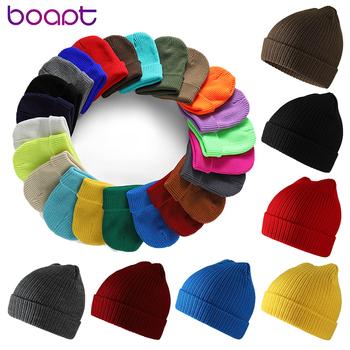 Unisex czapki z dzianiny czapki zimowe dla kobiet mężczyzn Solid Color czapki czapki ocieplacz na zimę Skullies czapki czapki kobieta akrylowa maska tanie i dobre opinie Dla dorosłych CN (pochodzenie) Acrylic Stałe 0824ZJ-CAP028 Skullies czapki Na co dzień Keeping Warm 1pc opp bag