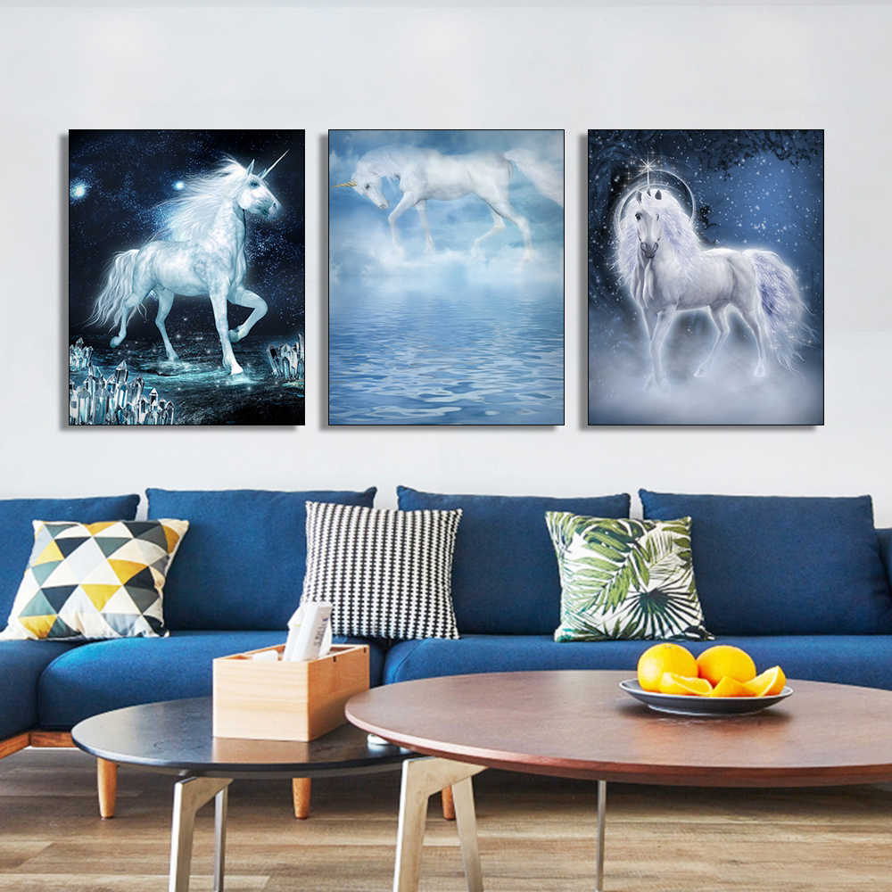Laeacco Cartoon Unicorn Canvas Painting Calligraphy Forest Animal Posters and Prints Wall Art Picture for Living Room Home Decor