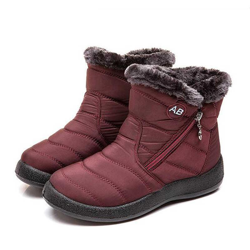 Vrouwen Laarzen Waterdichte Snowboots Vrouwelijke Pluche Winter Laarzen Vrouwen Warm Ankle Botas Mujer Winter Schoenen Vrouw Plus Size 43