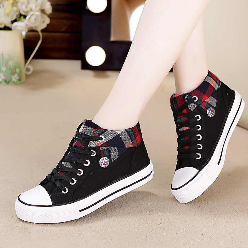 High Tops Mujer Lace Up Flat Shoes