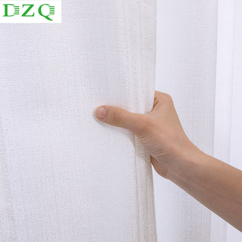 White Tulle Curtains for Living Room Decoration Modern Opaque Solid Sheer Voile for Bedroom Kitchen Curtain Window treatment