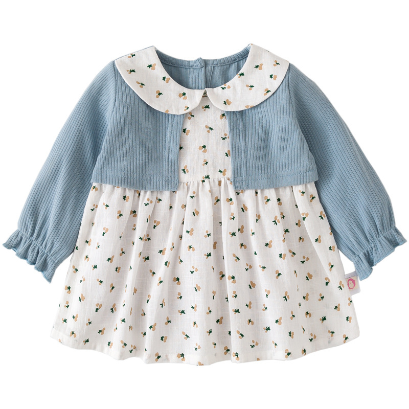 Image 3 - Girls Dress Peter Pan Collar Print Princess Girls Dresses Autumn Clothes For Kids Costume Girls Casual Wear 0 5YDresses   -