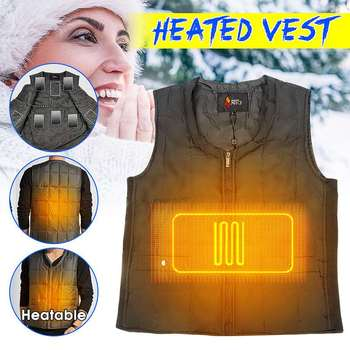 Men Heating Vest Jacket Sleevless USB Electric Heated Vest Down Cotton Winter Thermal Clothes for Outdoor Hiking