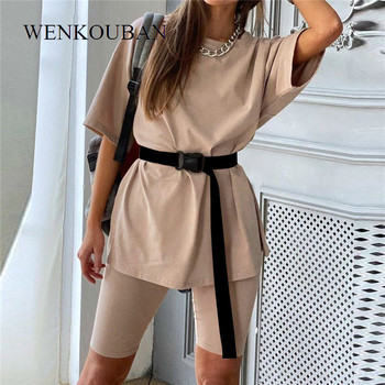 Fashion Women's Two Piece Suit Casual Solid Ladies Tracksuit  2020 Summer Outfits For Women Loose Sports Suit Conjunto Feminino
