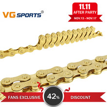 8 Speed Bicycle Chain Gold 116L Bike Chain 24 Speed Solid Paltes Mountain Road Bike Chains 8S Ultralight 309g Boxed F80(China)