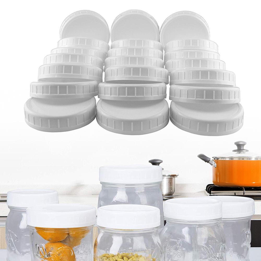 12pcs Mouth Lids Mason Jar Lids Plastic Storage Caps For Mason Canning Jars And More, Standard, Diameter 70mm