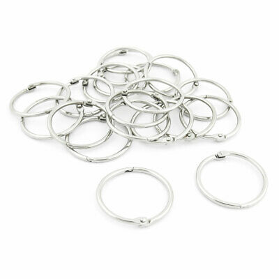 Stationery Metal Staple Book Binder Loose Leaf Snap Rings Keychains 20 Pcs