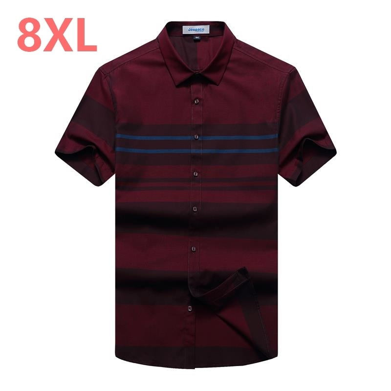 10XL 8XL 6XL 5XL Male Brand Casual Business Loose Fit Men Shirt Camisa Short Sleeve Striped Social Shirts Dress Clothing Jersey